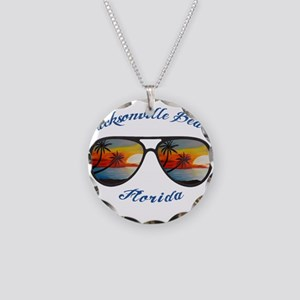 Florida - Jacksonville Beach Necklace Circle Charm
