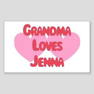 Grandma Loves Jenna Rectangle Sticker