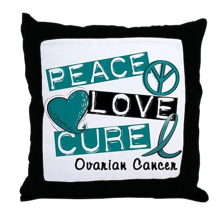 PEACE LOVE CURE Ovarian Cancer (L1) Throw Pillow