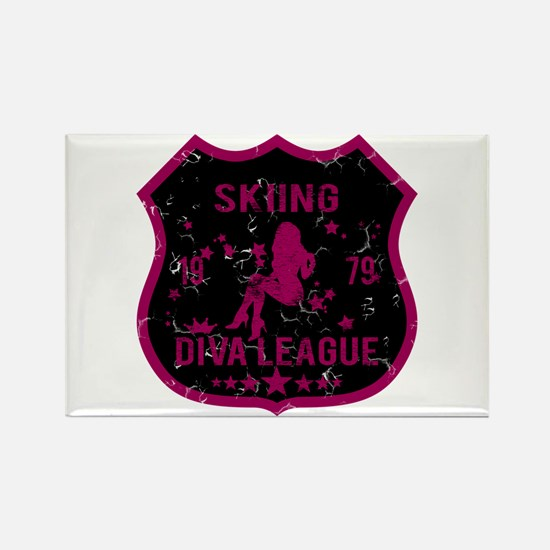 Skiing Diva League Rectangle Magnet