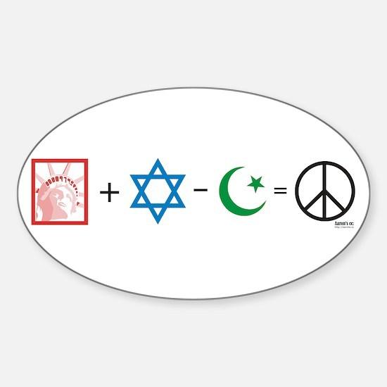 USA plus Israel minus Islam is Peace Decal