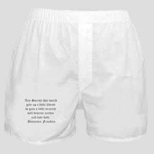 Ben Franklin Liberty Quote Boxer Shorts