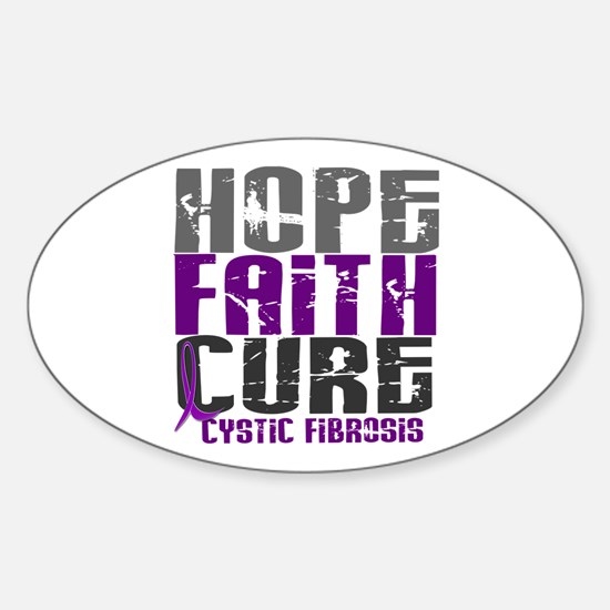 HOPE FAITH CURE Cystic Fibrosis Oval Decal