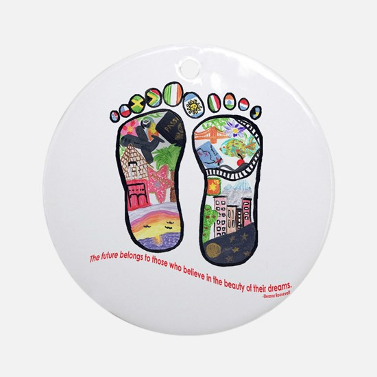Traveling feet with Eleanor Roosevelt quote Orname
