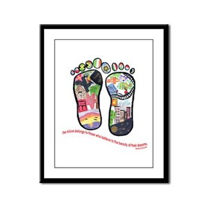 Traveling feet with Eleanor Roosevelt quote Framed