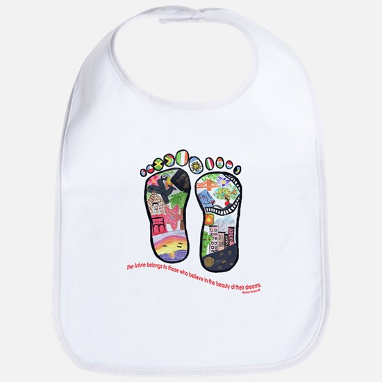 Traveling feet with Eleanor Roosevelt quote Bib
