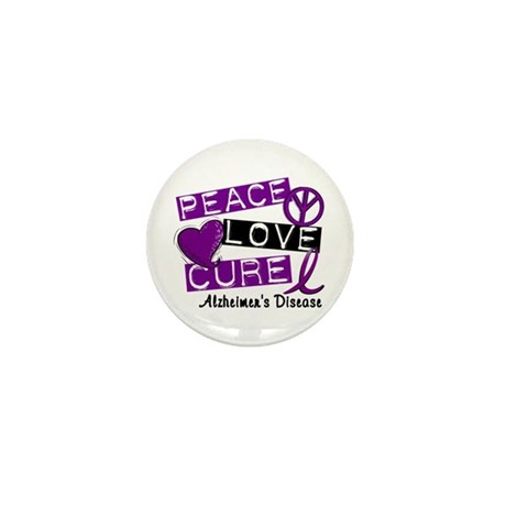 PEACE LOVE CURE Alzheimer's Disease Mini Button