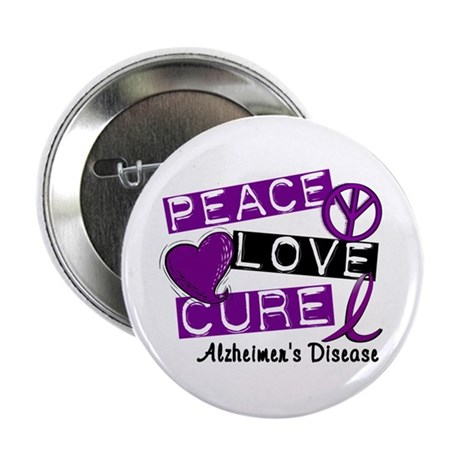 "PEACE LOVE CURE Alzheimer's Disease 2.25"" Button"