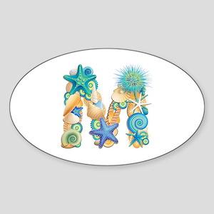 Beach Theme Initial M Sticker