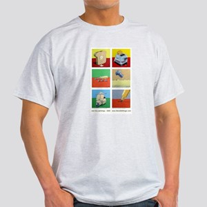 Ash Grey T-Shirt of 6 tiny paintings by Steve