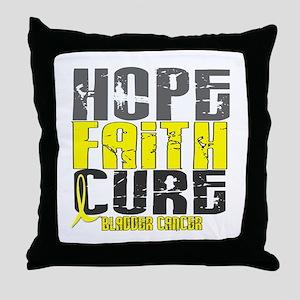 HOPE FAITH CURE Bladder Cancer Throw Pillow