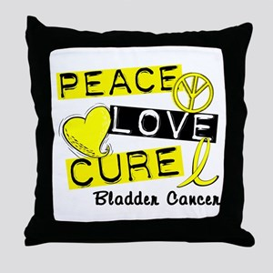 PEACE LOVE CURE Bladder Cancer (L1) Throw Pillow