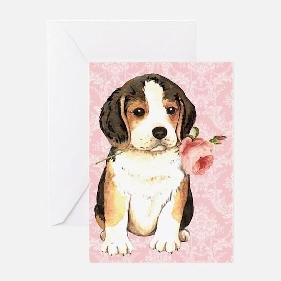Beagle Rose Greeting Card