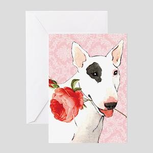Bull Terrier Rose Greeting Card