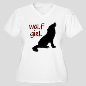 Wolf Girl Women's Plus Size V-Neck T-Shirt