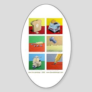 Oval Sticker of 6 tiny paintings by Steve Dehli