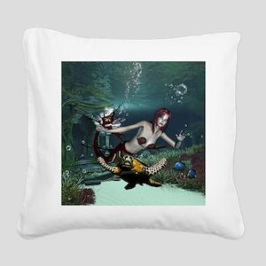 Beautiful mermaid with turtle in the deep ocean Sq