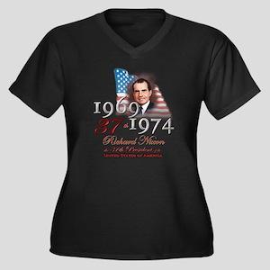 37th President - Women's Plus Size V-Neck Dark T-S