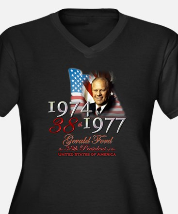 38th President - Women's Plus Size V-Neck Dark T-S