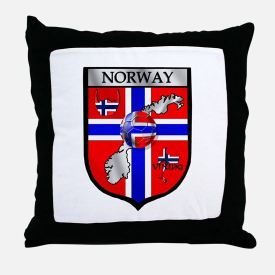 Norge Norwegian Soccer Shield Throw Pillow
