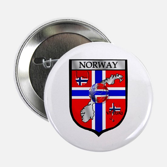 "Norge Norwegian Soccer Shield 2.25"" Button"
