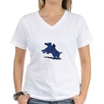 Blue Dachshund Women's V-Neck T-Shirt
