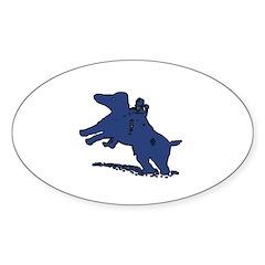 Blue Dachshund Oval Decal