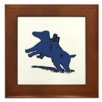 Blue Dachshund Framed Tile
