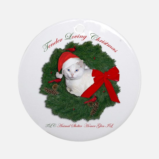Shorty the cat in wreath Ornament (Round)