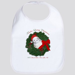 Shorty the cat in wreath Bib