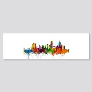 Boston Massachusetts Skyline Bumper Sticker