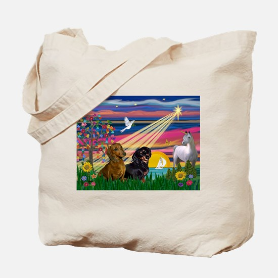 Magical Night/Two Dachshunds Tote Bag