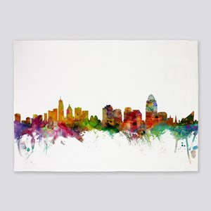 Cincinnati Ohio Skyline 5'x7'Area Rug