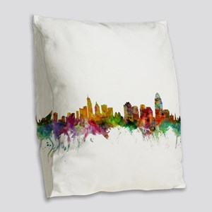 Cincinnati Ohio Skyline Burlap Throw Pillow