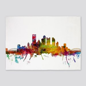 Pittsburgh Pennsylvania Skyline 5'x7'Area Rug