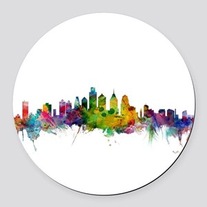 Philadelphia Pennsylvania Skyline Round Car Magnet