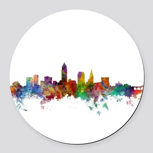 Cleveland Ohio Skyline Round Car Magnet