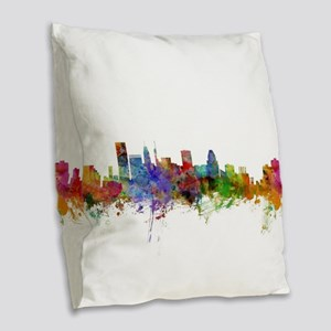 Baltimore Maryland Skyline Burlap Throw Pillow