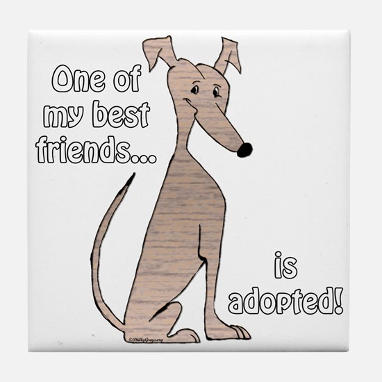 Adopted~Red Brindle Tile Coaster