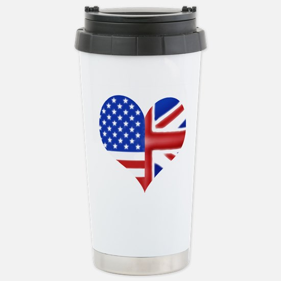 British American Heart Stainless Steel Travel Mug