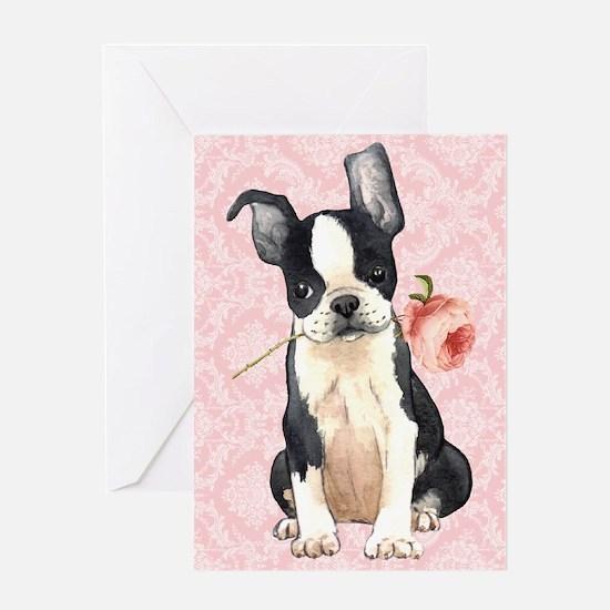 Boston Terrier Rose Greeting Card