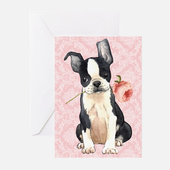Boston Terrier Rose Greeting Cards (Pk of 10)
