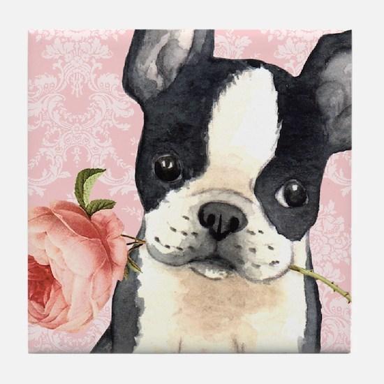 Boston Terrier Rose Tile Coaster