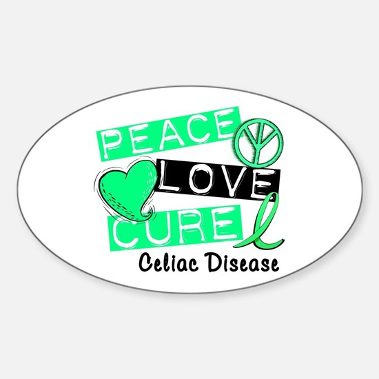 PEACE LOVE CURE Celiac Disease (L1) Oval Decal