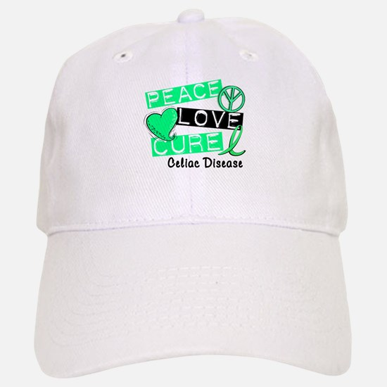 PEACE LOVE CURE Celiac Disease (L1) Baseball Baseball Cap
