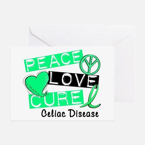PEACE LOVE CURE Celiac Disease (L1) Greeting Card
