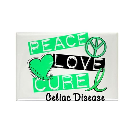 PEACE LOVE CURE Celiac Disease (L1) Rectangle Magn