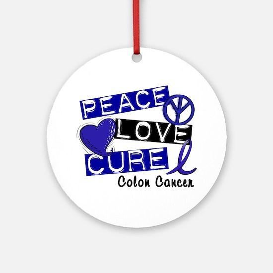 PEACE LOVE CURE Colon Cancer Ornament (Round)