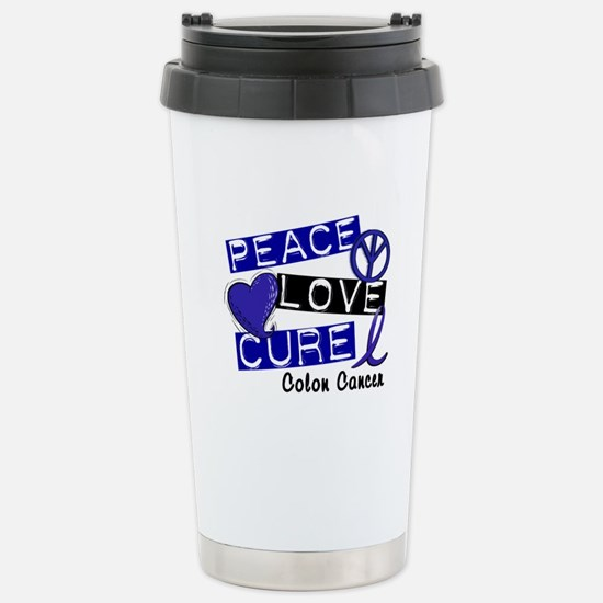 PEACE LOVE CURE Colon Cancer Stainless Steel Trave
