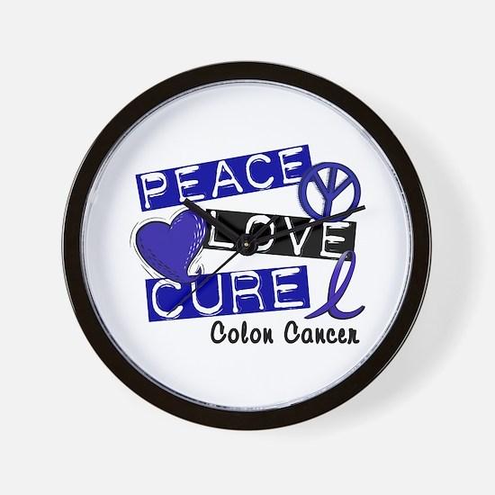 PEACE LOVE CURE Colon Cancer Wall Clock